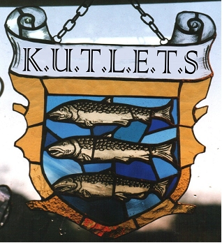 Stained-glass design for K.U.T.L.E.T.S. = Kingston Upon LETS logo, showing three fishes